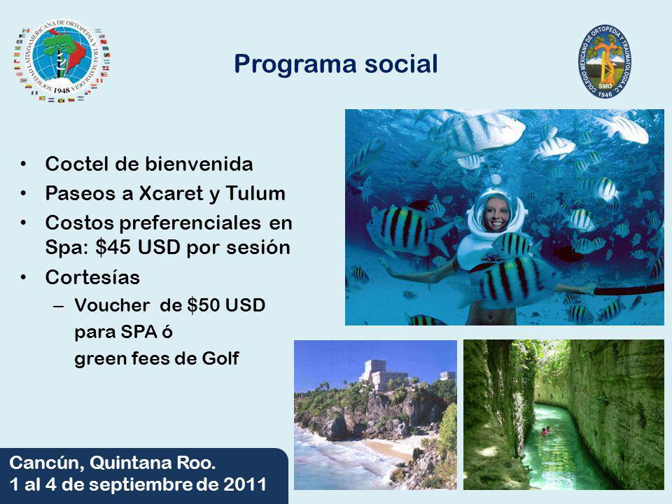 Programa social Coctel de bienvenida Paseos a Xcaret y Tulum