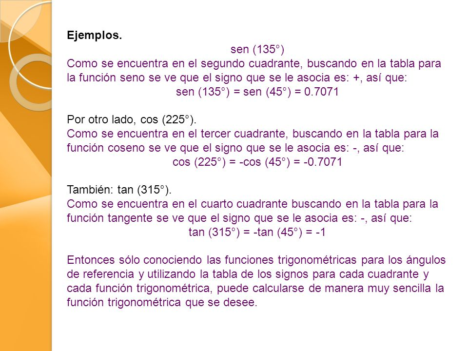 Ejemplos. sen (135°)