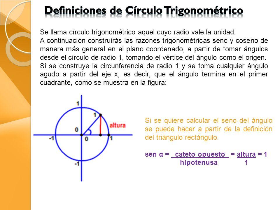 Definiciones de Círculo Trigonométrico