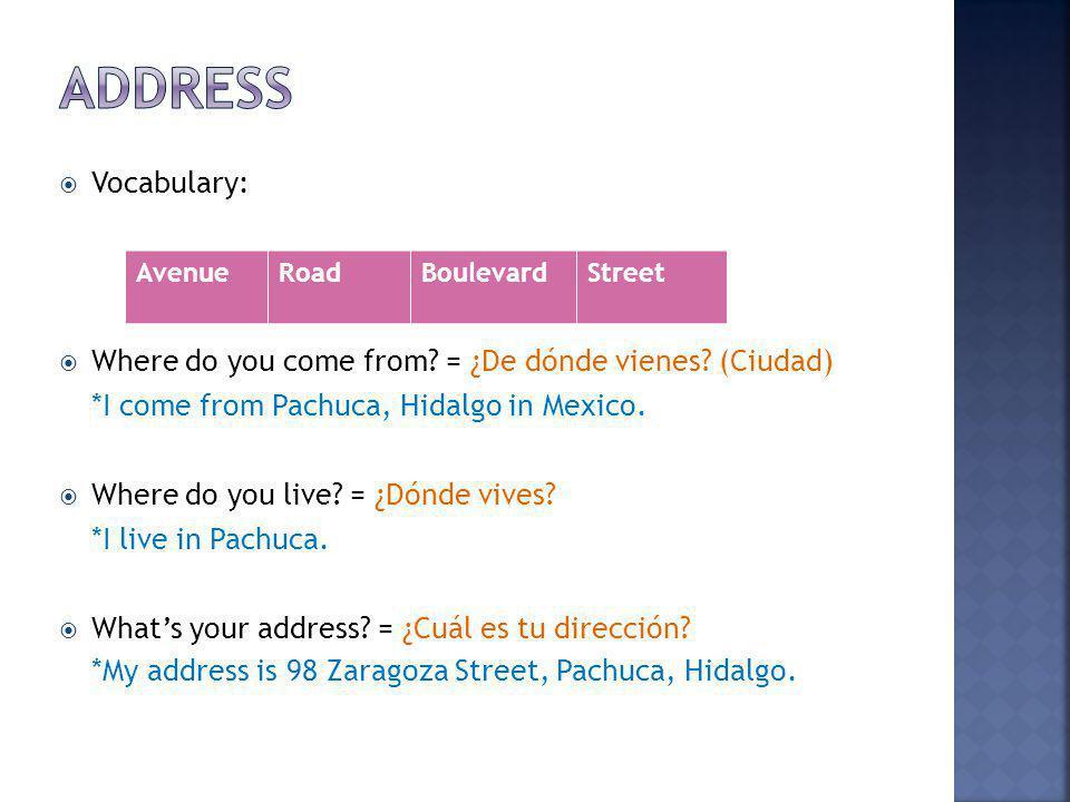 Address Vocabulary: Where do you come from = ¿De dónde vienes (Ciudad) *I come from Pachuca, Hidalgo in Mexico.