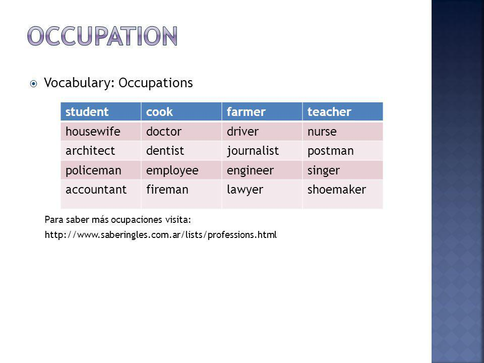 Occupation Vocabulary: Occupations student cook farmer teacher