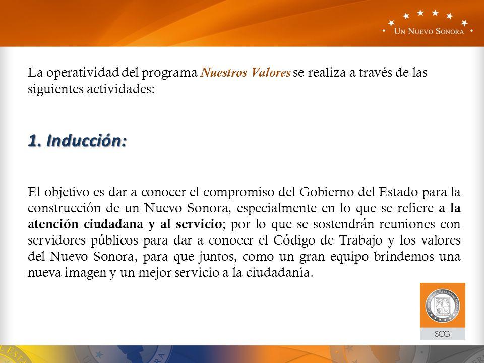 La operatividad del programa Nuestros Valores se realiza a través de las siguientes actividades:
