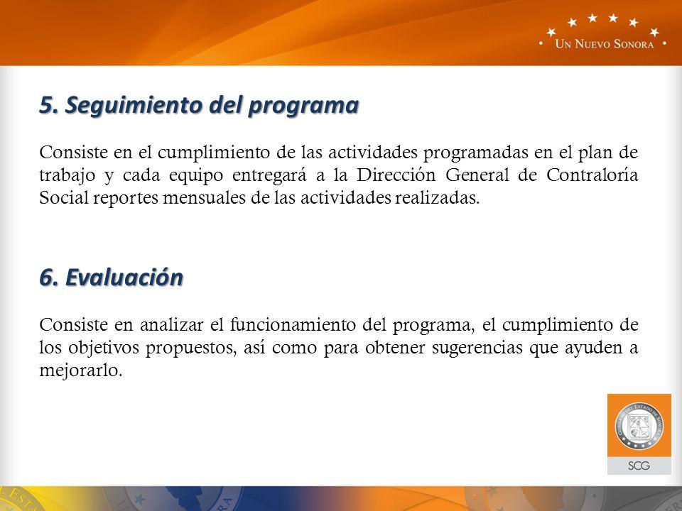 5. Seguimiento del programa