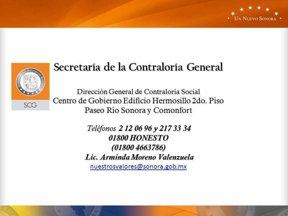 Secretaría de la Contraloría General Lic. Arminda Moreno Valenzuela