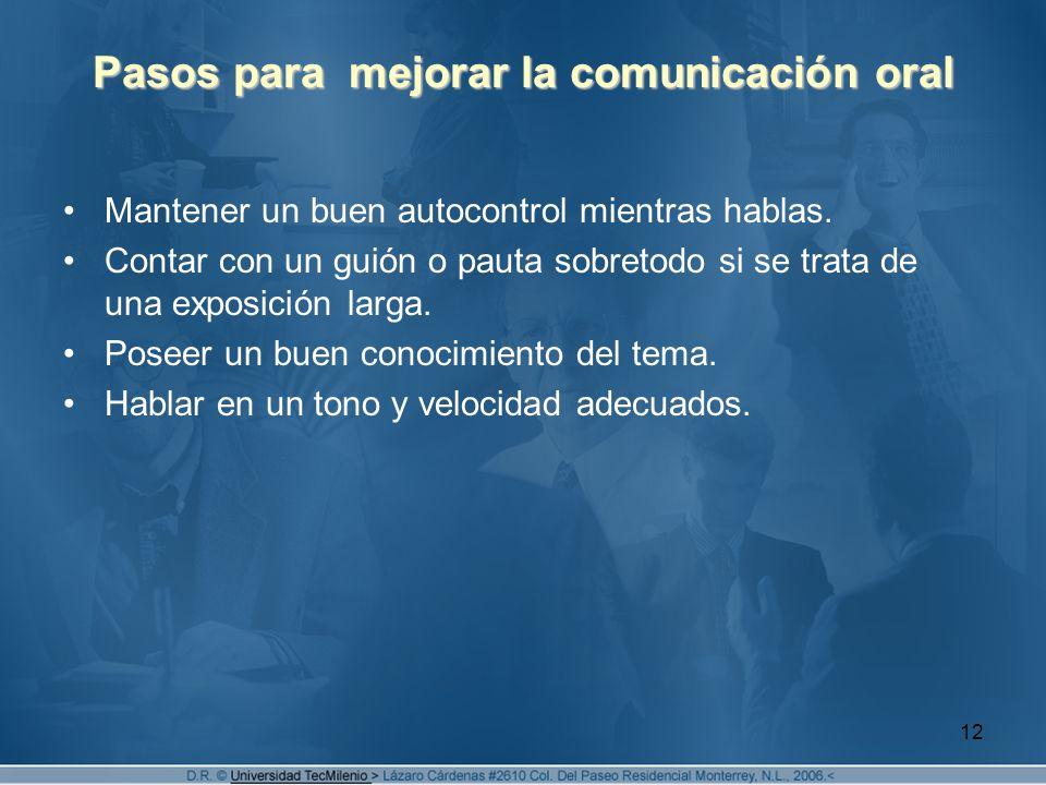 Pasos para mejorar la comunicación oral