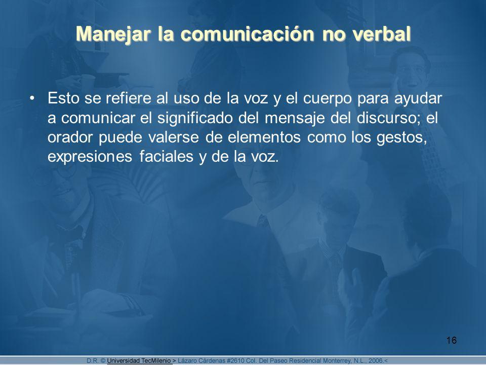 Manejar la comunicación no verbal