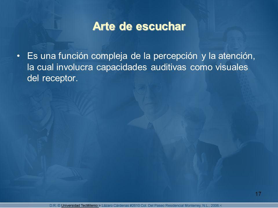 Arte de escuchar Es una función compleja de la percepción y la atención, la cual involucra capacidades auditivas como visuales del receptor.