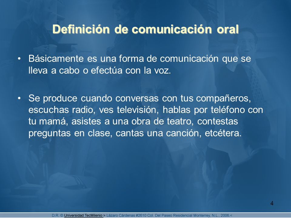 Definición de comunicación oral