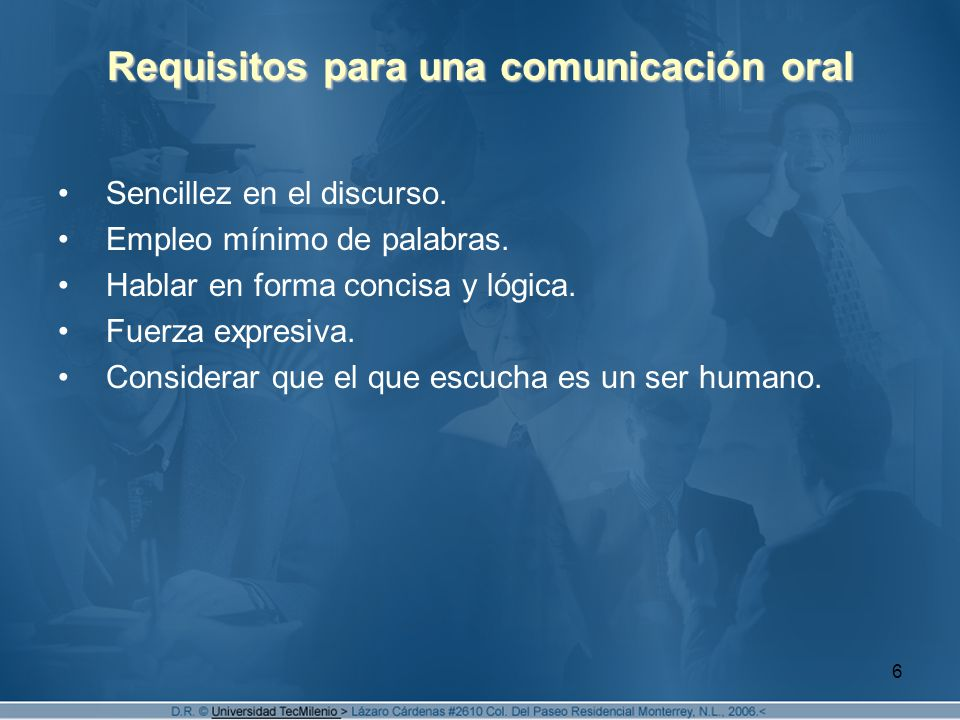 Requisitos para una comunicación oral