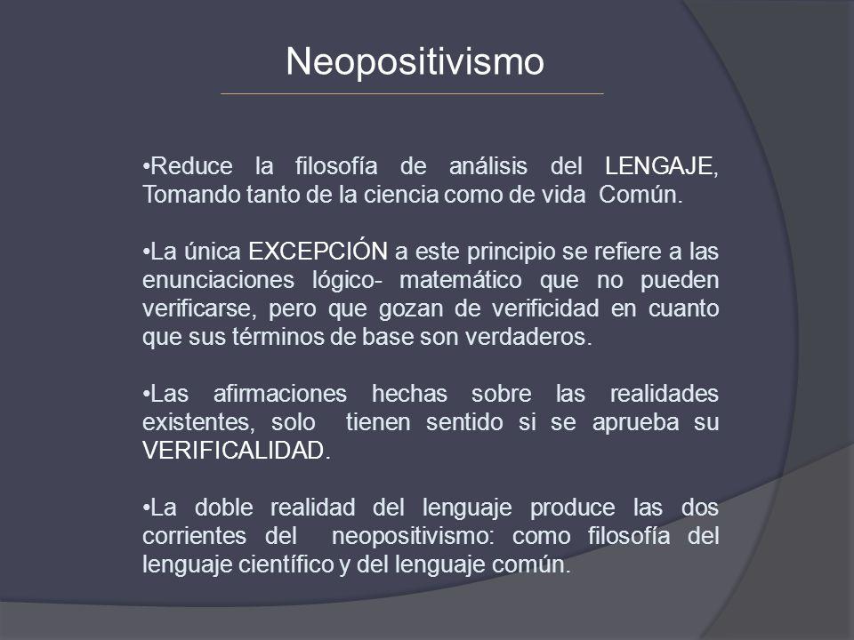 Neopositivismo Reduce la filosofía de análisis del LENGAJE, Tomando tanto de la ciencia como de vida Común.
