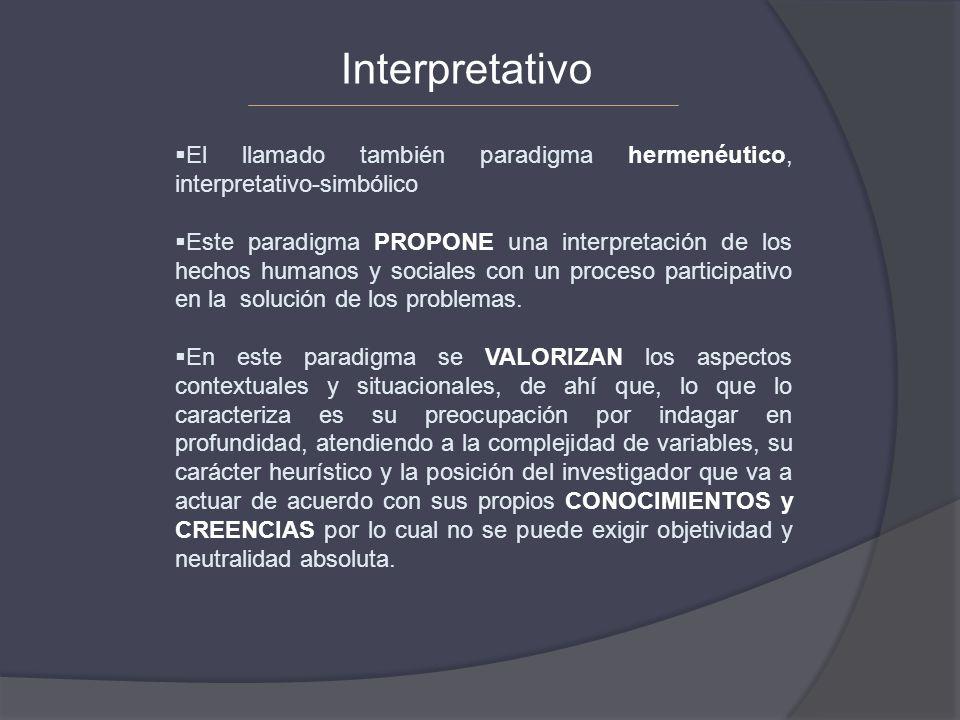 Interpretativo El llamado también paradigma hermenéutico, interpretativo-simbólico.