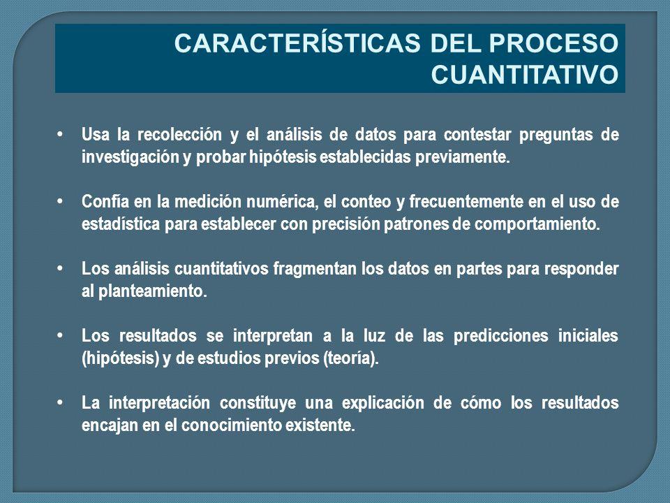 CARACTERÍSTICAS DEL PROCESO CUANTITATIVO