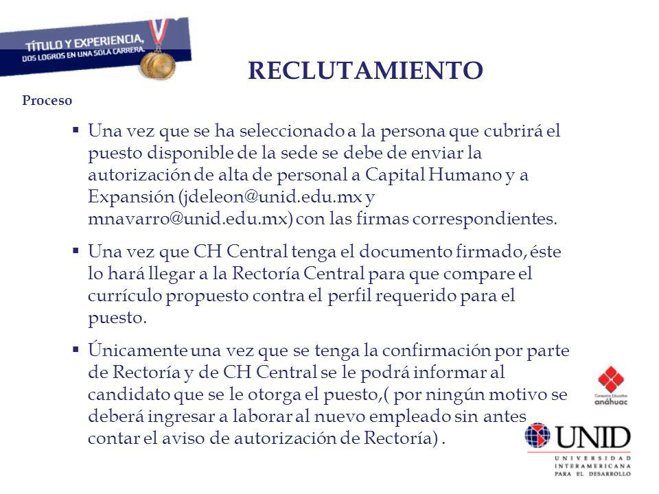 RECLUTAMIENTO Proceso.