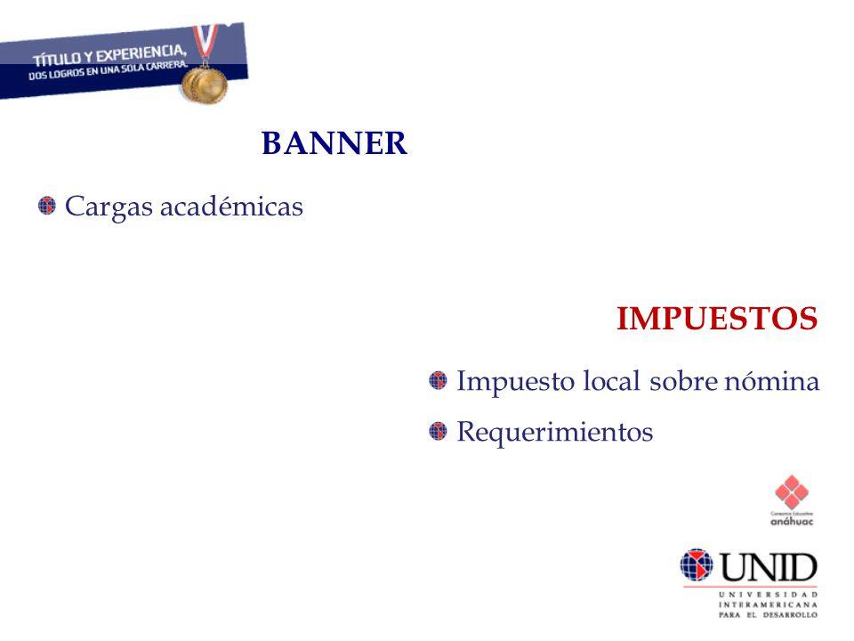 BANNER IMPUESTOS CAPITAL HUMANO Cargas académicas