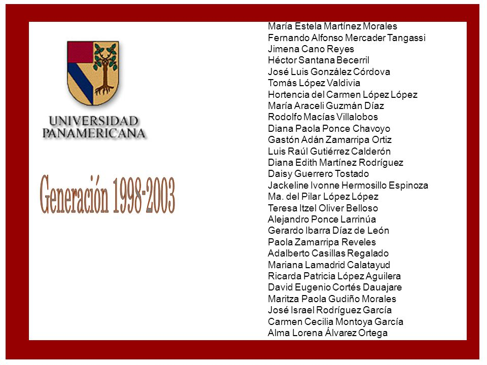 Generación 1998-2003 María Estela Martínez Morales