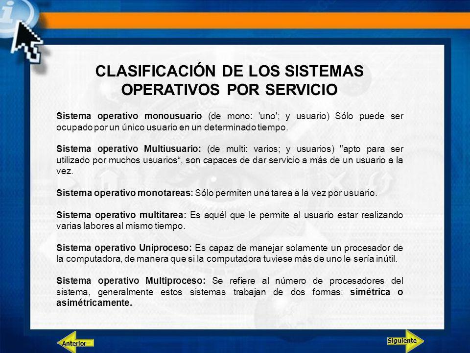 CLASIFICACIÓN DE LOS SISTEMAS OPERATIVOS POR SERVICIO