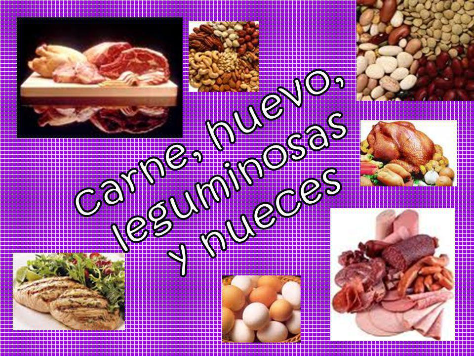 carne, huevo, leguminosas y nueces