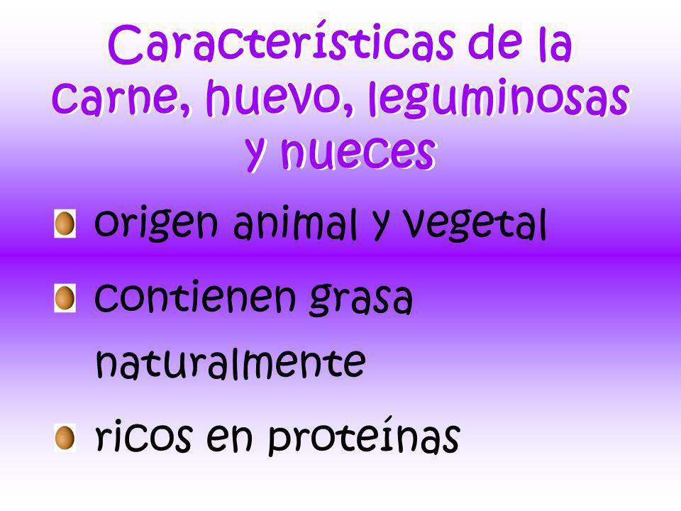 Características de la carne, huevo, leguminosas y nueces