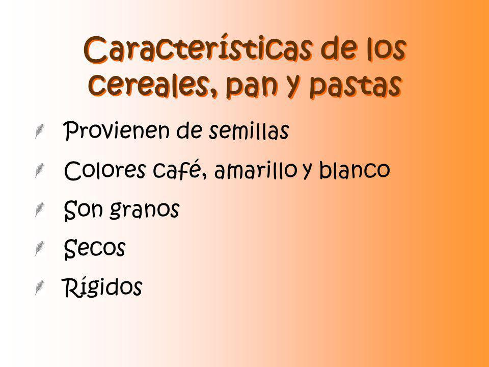 Características de los cereales, pan y pastas