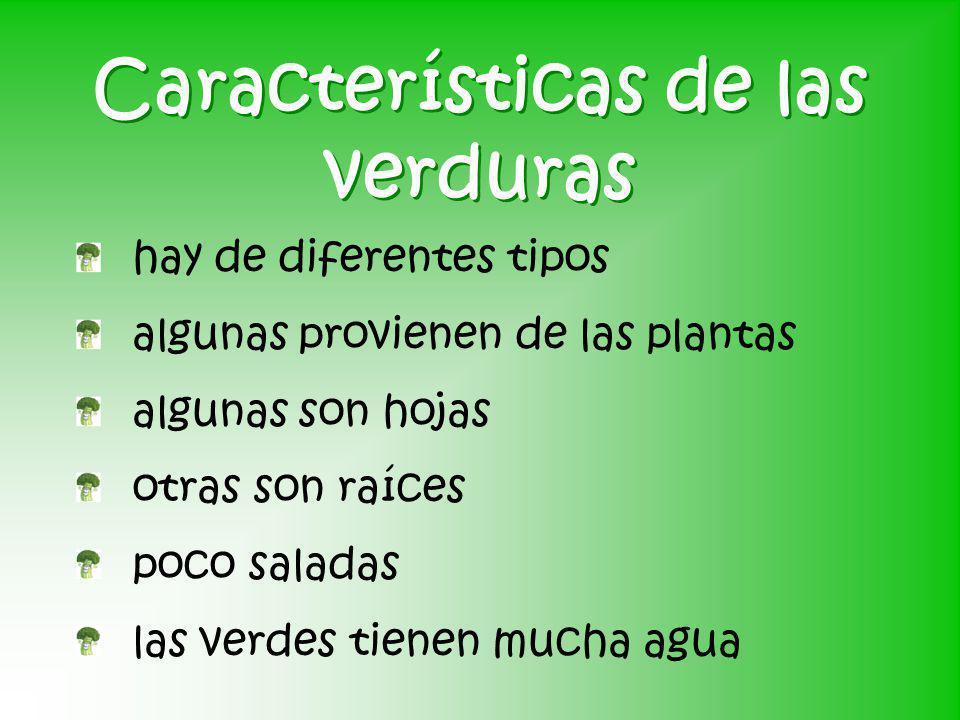 Características de las verduras