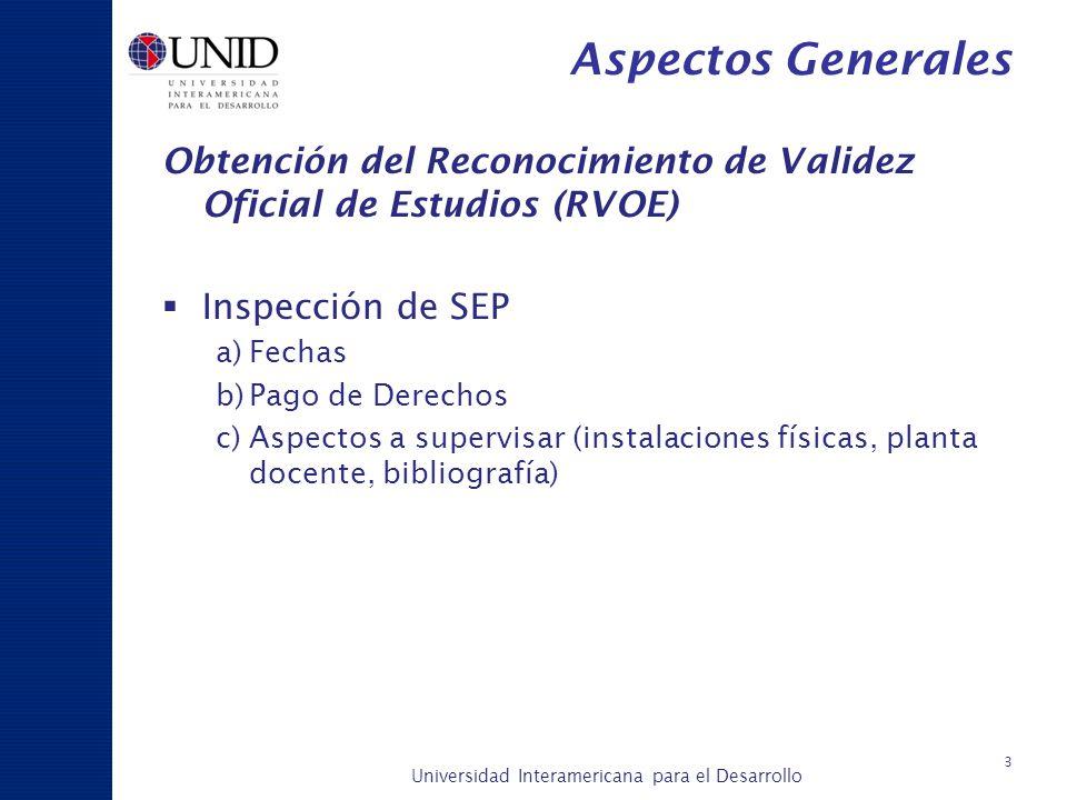 Aspectos Generales Obtención del Reconocimiento de Validez Oficial de Estudios (RVOE) Inspección de SEP.
