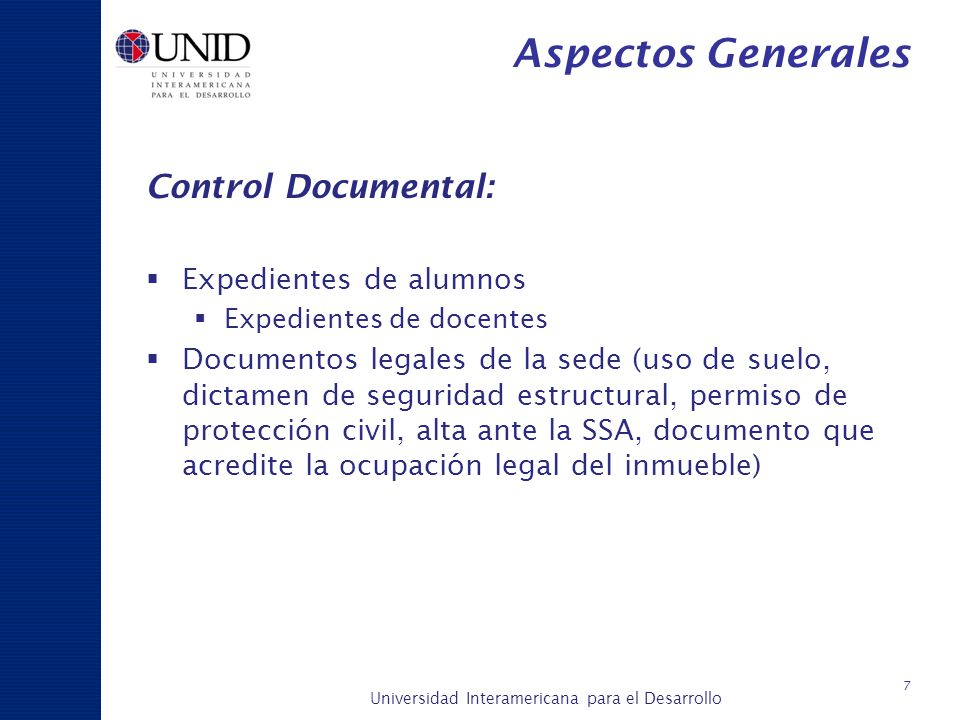 Aspectos Generales Control Documental: Expedientes de alumnos