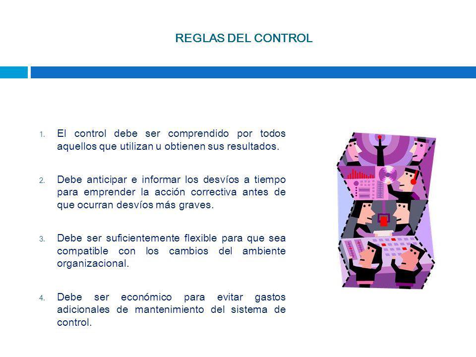 REGLAS DEL CONTROL El control debe ser comprendido por todos aquellos que utilizan u obtienen sus resultados.