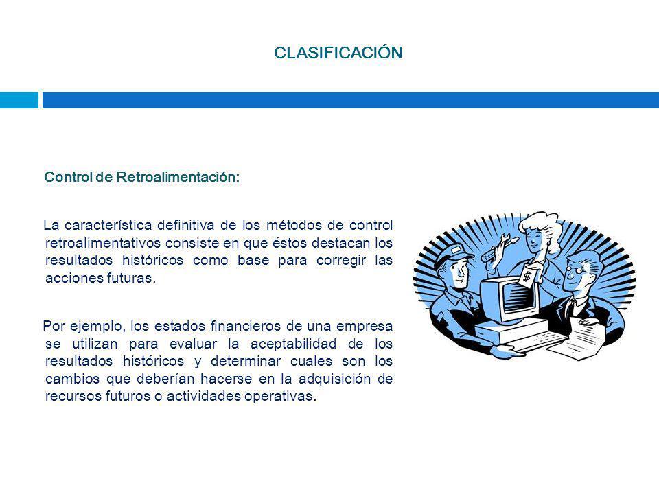 CLASIFICACIÓN Control de Retroalimentación: