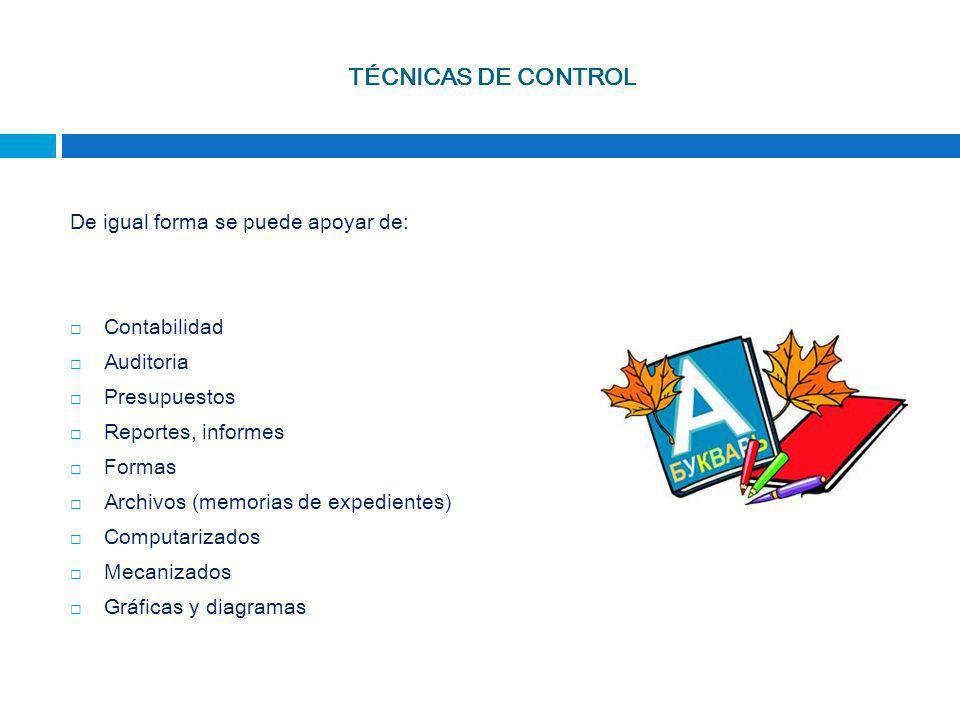 TÉCNICAS DE CONTROL De igual forma se puede apoyar de: Contabilidad
