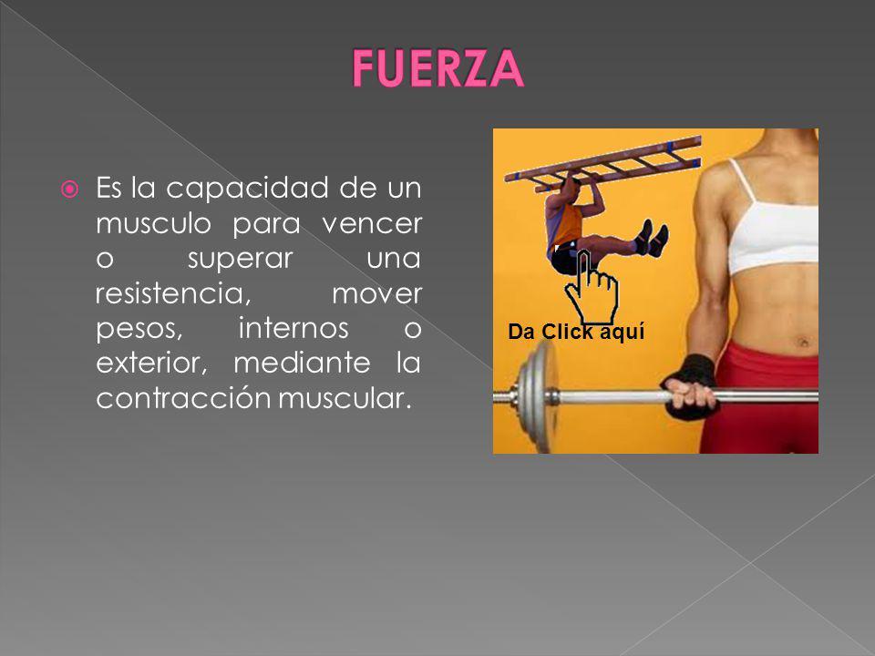 FUERZA Es la capacidad de un musculo para vencer o superar una resistencia, mover pesos, internos o exterior, mediante la contracción muscular.