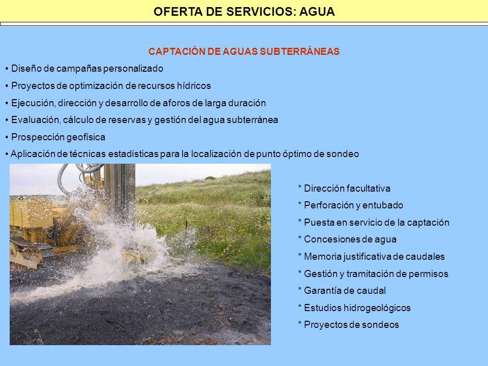 OFERTA DE SERVICIOS: AGUA CAPTACIÓN DE AGUAS SUBTERRÁNEAS