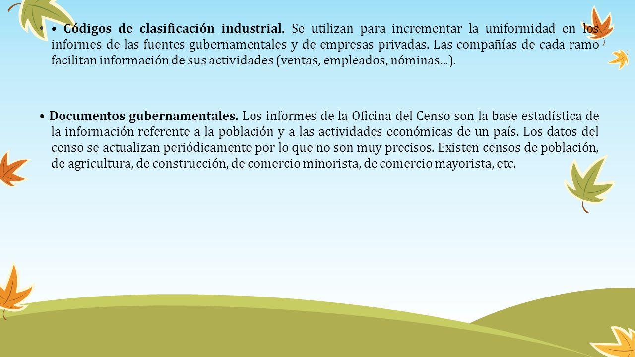 • Códigos de clasificación industrial