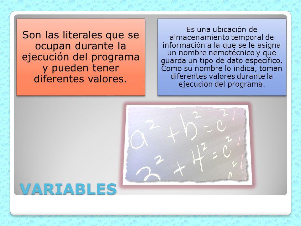 Son las literales que se ocupan durante la ejecución del programa y pueden tener diferentes valores.
