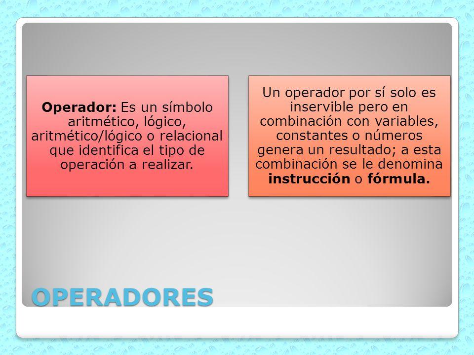 Operador: Es un símbolo aritmético, lógico, aritmético/lógico o relacional que identifica el tipo de operación a realizar.