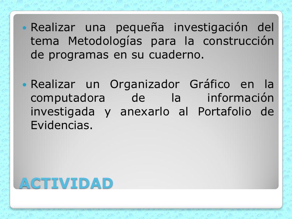 Realizar una pequeña investigación del tema Metodologías para la construcción de programas en su cuaderno.