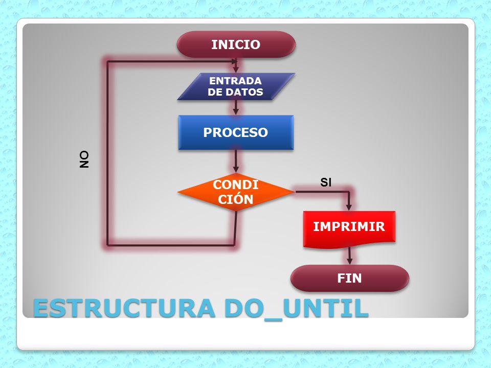ESTRUCTURA DO_UNTIL INICIO PROCESO NO CONDICIÓN SI IMPRIMIR FIN