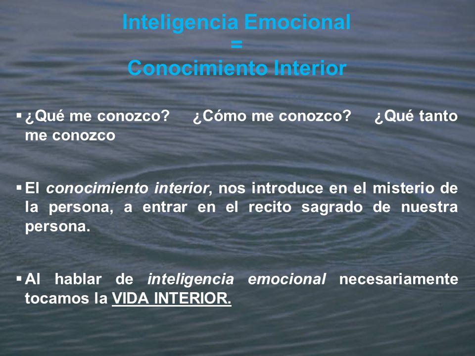 Inteligencia Emocional = Conocimiento Interior