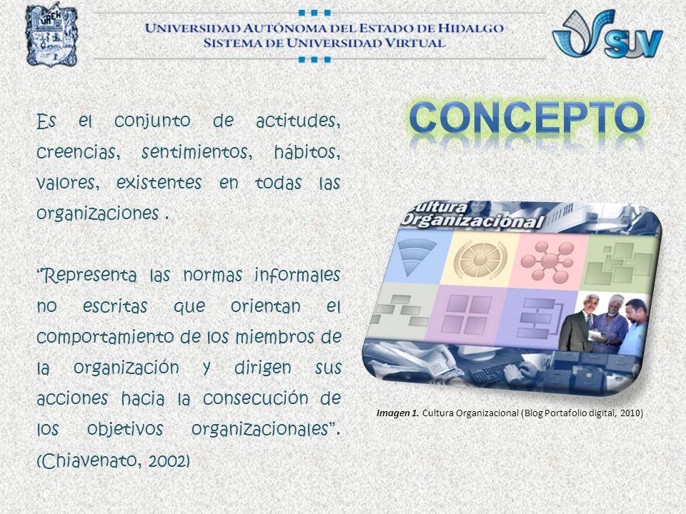 Concepto Es el conjunto de actitudes, creencias, sentimientos, hábitos, valores, existentes en todas las organizaciones .
