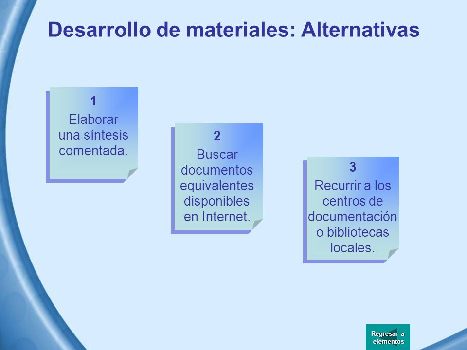 Desarrollo de materiales: Alternativas