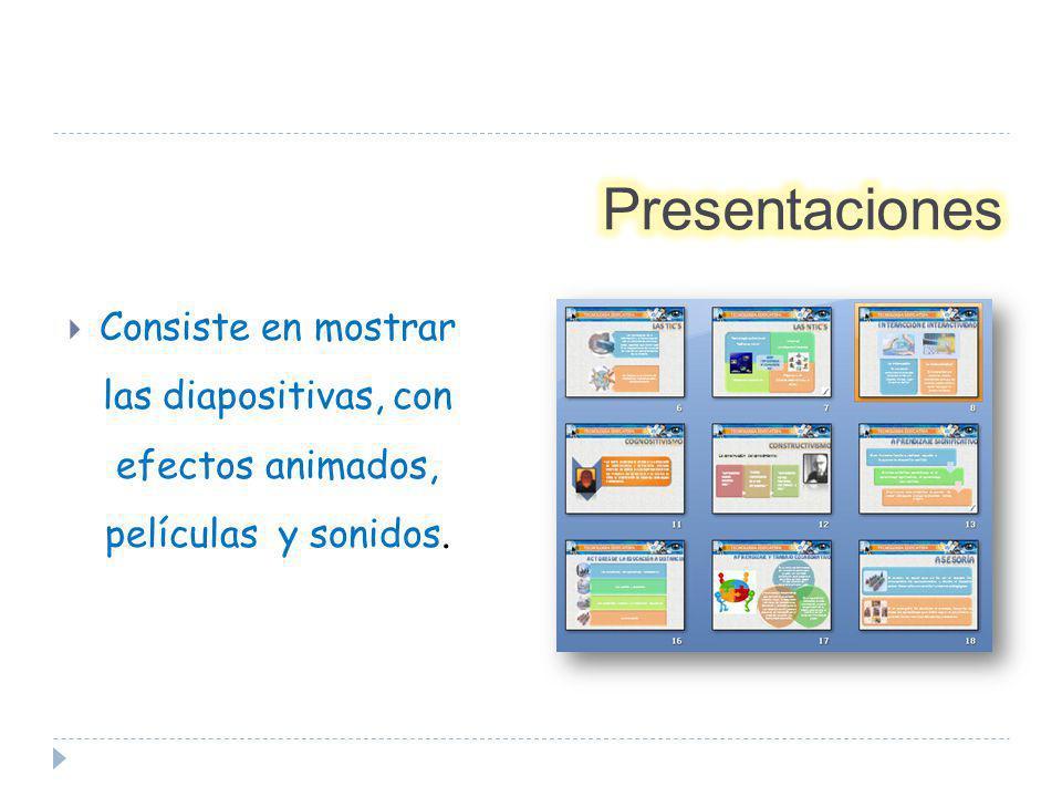 Presentaciones Consiste en mostrar las diapositivas, con efectos animados, películas y sonidos.