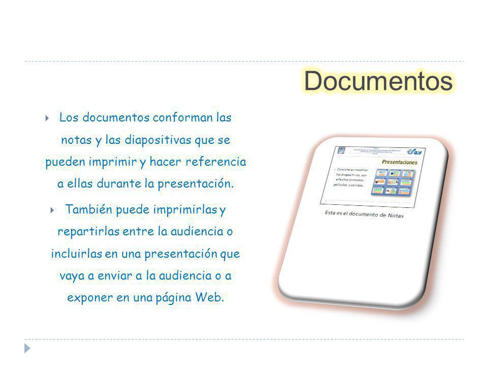 Documentos Los documentos conforman las notas y las diapositivas que se pueden imprimir y hacer referencia a ellas durante la presentación.