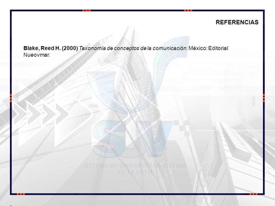 REFERENCIAS Blake, Reed H. (2000) Taxonomía de conceptos de la comunicación.