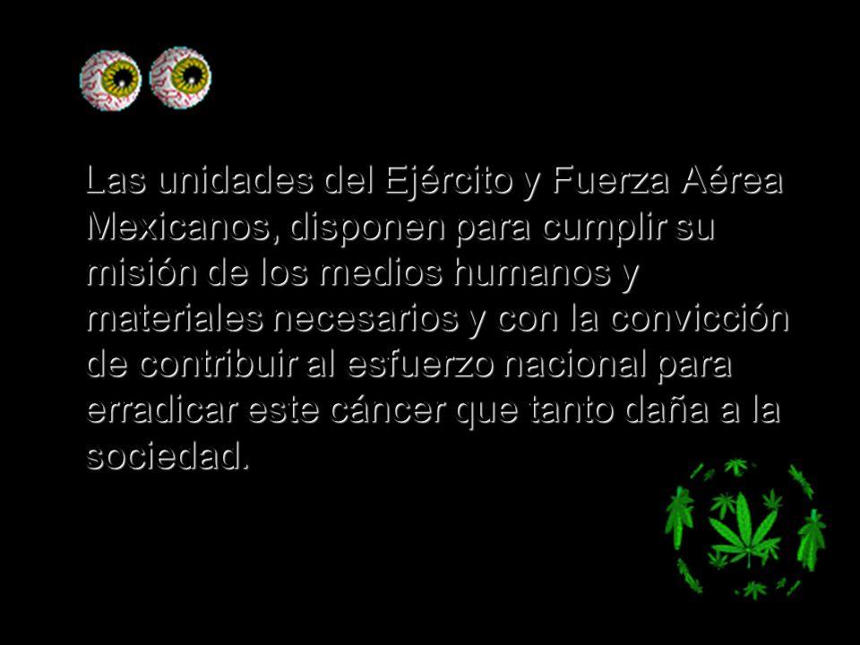 Las unidades del Ejército y Fuerza Aérea Mexicanos, disponen para cumplir su misión de los medios humanos y materiales necesarios y con la convicción de contribuir al esfuerzo nacional para erradicar este cáncer que tanto daña a la sociedad.