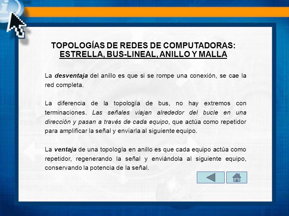 TOPOLOGÍAS DE REDES DE COMPUTADORAS: ESTRELLA, BUS-LINEAL, ANILLO Y MALLA