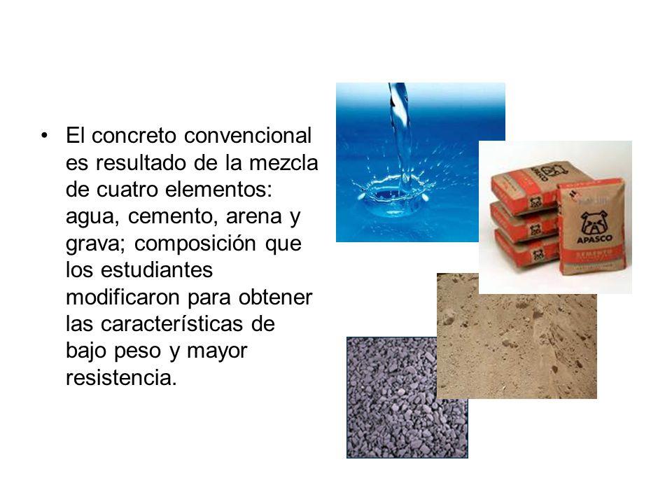 El concreto convencional es resultado de la mezcla de cuatro elementos: agua, cemento, arena y grava; composición que los estudiantes modificaron para obtener las características de bajo peso y mayor resistencia.