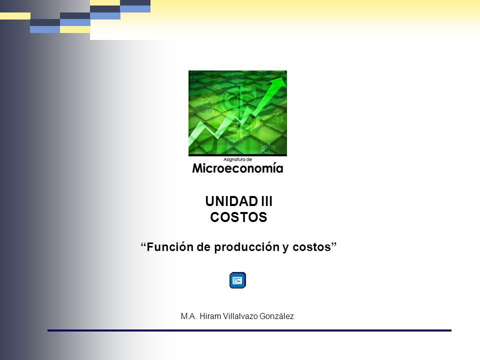 UNIDAD III COSTOS Función de producción y costos