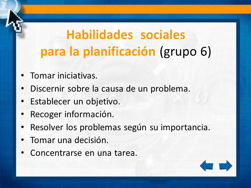 Habilidades sociales para la planificación (grupo 6)