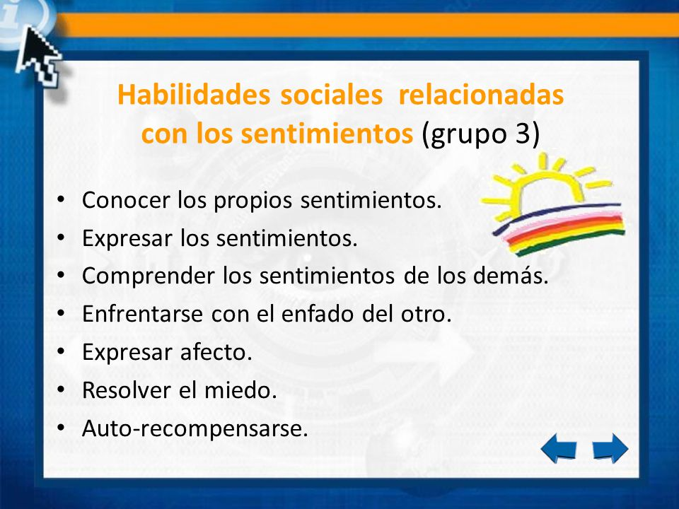 Habilidades sociales relacionadas con los sentimientos (grupo 3)