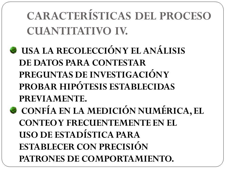 CARACTERÍSTICAS DEL PROCESO CUANTITATIVO IV.