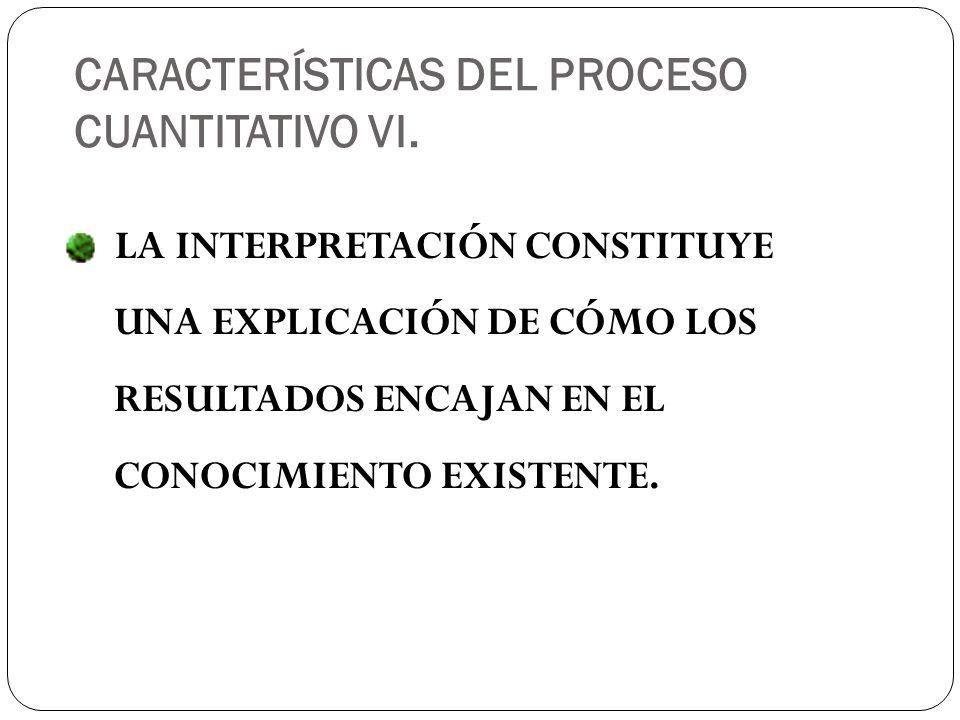 CARACTERÍSTICAS DEL PROCESO CUANTITATIVO VI.